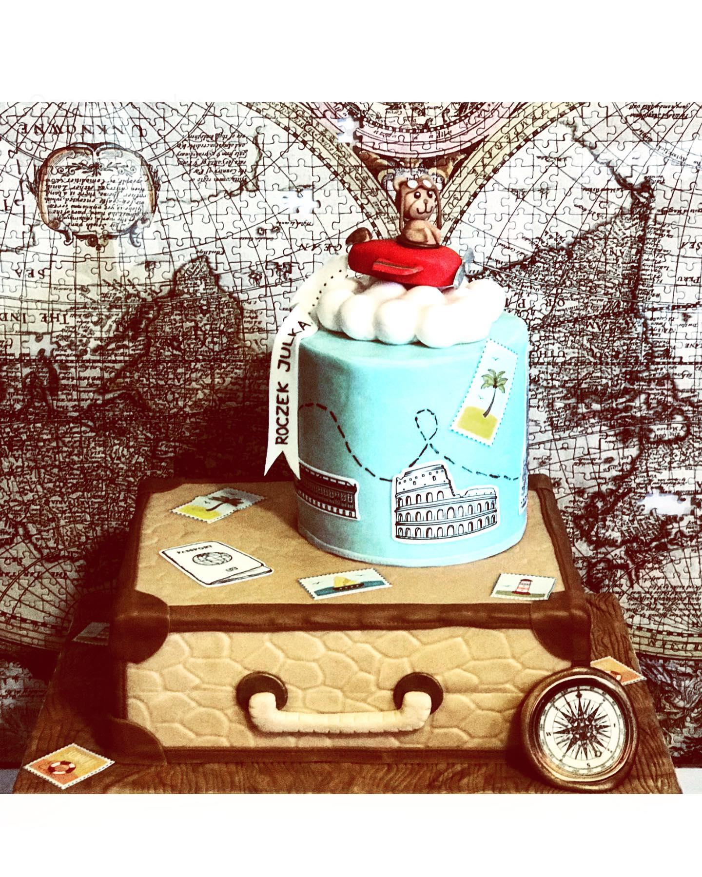 roczek tort motyw podróżniczy